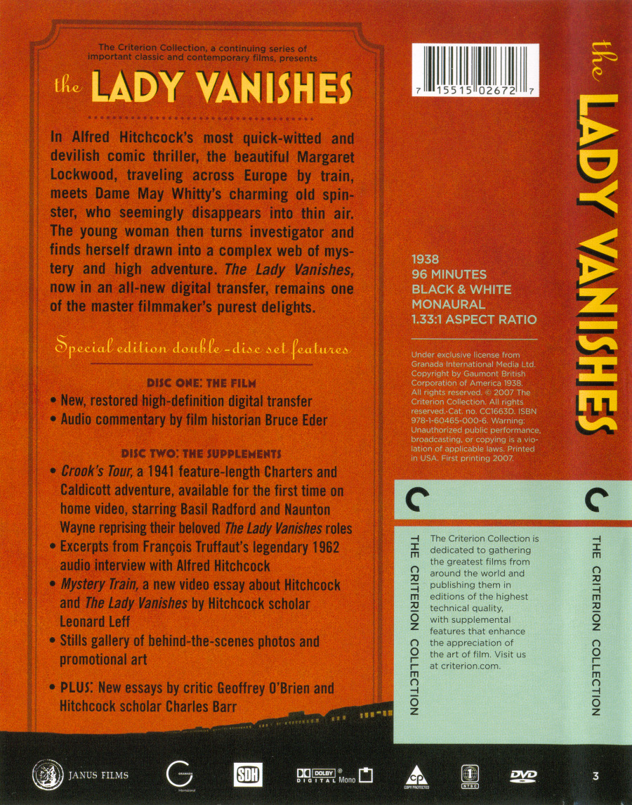 the lady vanishes criterion collection usa the dvd back cover scan