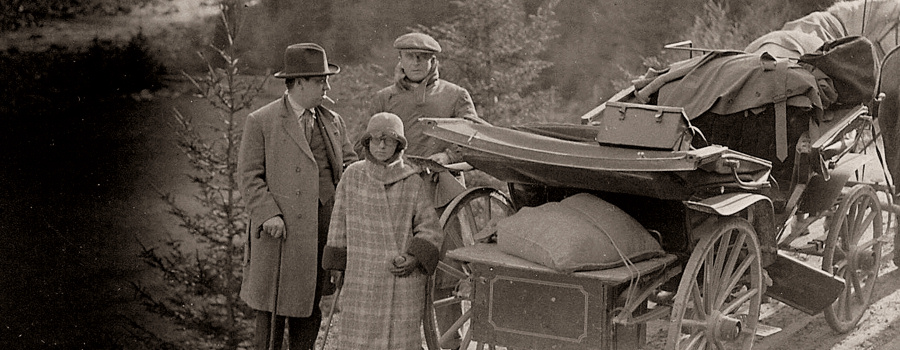 "Location filming for ""The Mountain Eagle"" - Alfred Hitchcock, Alma Reville and unknown man (possibly actor Malcolm Keen)"