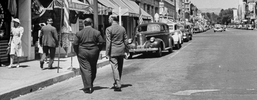 "Alfred Hitchcock and writer Thornton Wilder wander the streets of Santa Rosa (""Shadow of a Doubt"")"