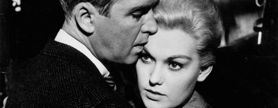 "James Stewart and Kim Novak in ""Vertigo"""