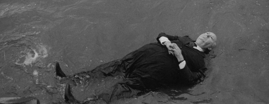 "Alfred Hitchcock floats down The Thames in ""Frenzy"""
