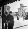 SHADOW OF A DOUBT (1943) - ON LOCATION - Publicity photograph for ''Shadow of a Doubt'' of Thornton Wilder and Hitchcock standing in Courthouse Square, Santa Rosa.