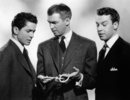 Rope (1948) - photograph - Publicity shot of Farley Granger, James Stewart and John Dall in ''Rope''.