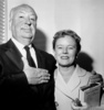 Alfred and Alma Hitchcock (1960) - Photograph of Alfred Hitchcock and Alma Reville taken in Paris in May 1960. The couple were en route to the Cannes Film Festival during their worldwide tour to promote ''Psycho''.