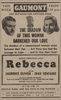 Rebecca (1940) - newspaper advert - Newspaper advert for ''Rebecca'', from the Derby Daily Telegraph (07/Oct/1940).