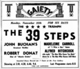 THE 39 STEPS (1935) - NEWSPAPER ADVERT - Newspaper advert for ''The 39 Steps'', from the Hastings and St Leonards Observer (23/Nov/1935).