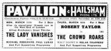 THE LADY VANISHES (1938) - NEWSPAPER ADVERT - Newspaper advert for ''The Lady Vanishes'', from the Sussex Agricultural Express (10/Mar/1939)