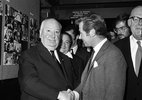 Alfred Hitchcock (1969) - Photograph of Alfred Hitchcock with Bryan Forbes at the National Film Theatre, London, in October 1969, where he was promoting ''Topaz''.