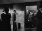 Film frame from ''Spellbound'' (1945) showing Hitchcock's cameo appearance.