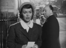 Film frame from ''Stage Fright'' (1950) showing Hitchcock's cameo appearance.