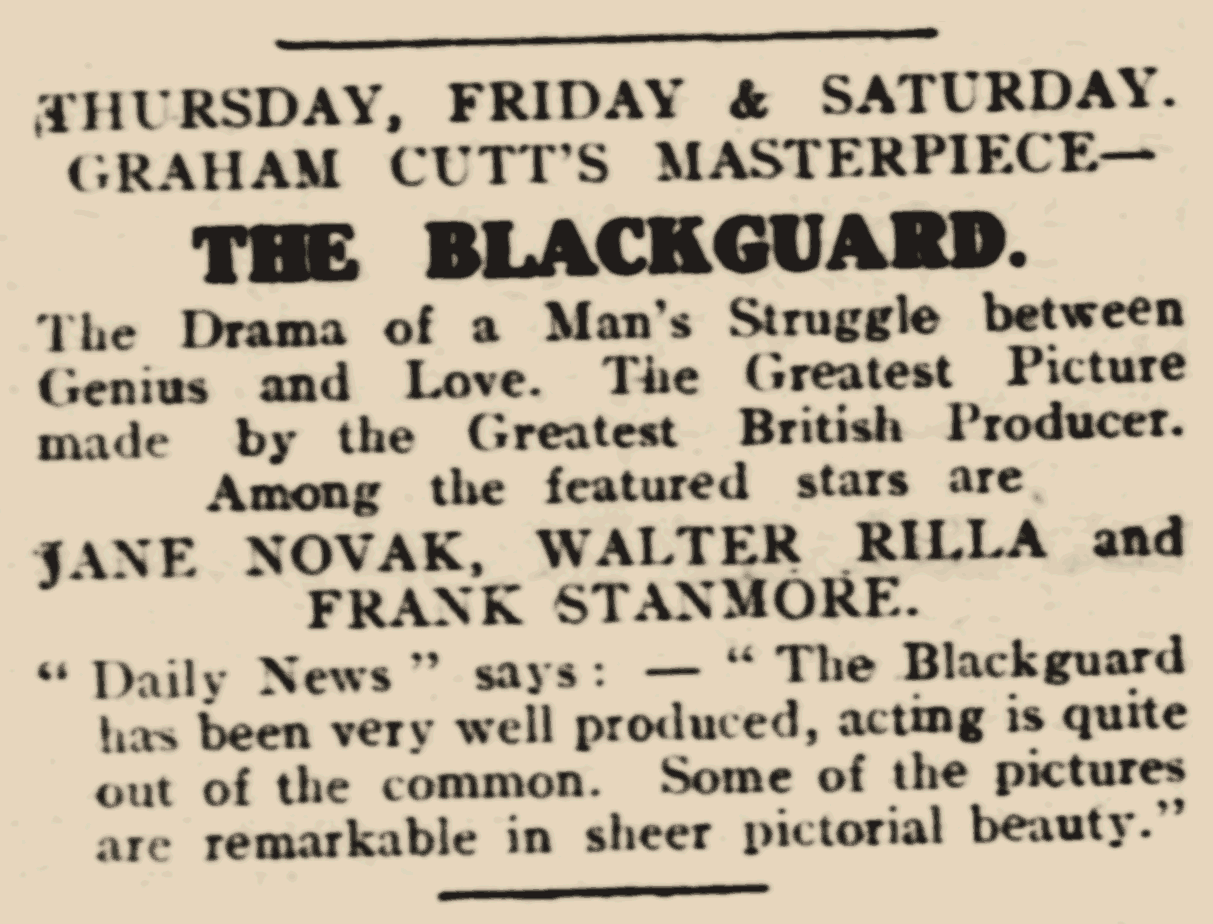 Lichfield Mercury (15/Jan/1926) - The Blackguard (advert